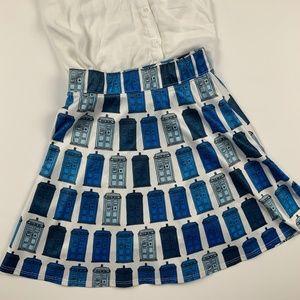 Doctor Who Skater Skirt Tardis Blue Mini Small